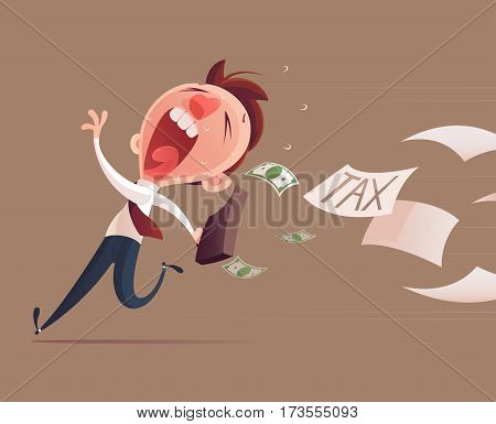 Avoid tax Business man running away from tax for tax concept