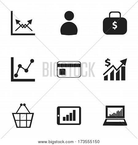 Set Of 9 Editable Analytics Icons. Includes Symbols Such As Schema, Bar Chart, Money Bag And More. Can Be Used For Web, Mobile, UI And Infographic Design.