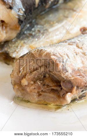 Extreme Macro Close Up Marinated Sardines