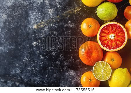 Citrus Juice Fruit And Slices Of Orange, Grapefruit, Lemon, Lime