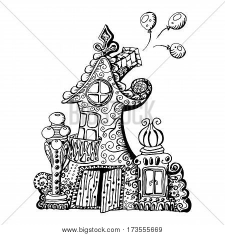 Original hand drawn doodle style fairy house. Can be used for kid coloring book design. Vector element