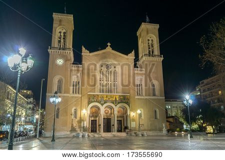 Night photo of Metropolitan Cathedral in Athens, Attica, Greece