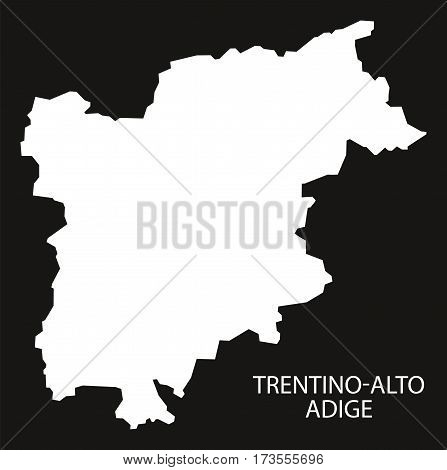 Trentino-Alto Adige Italy Map black inverted silhouette black and white