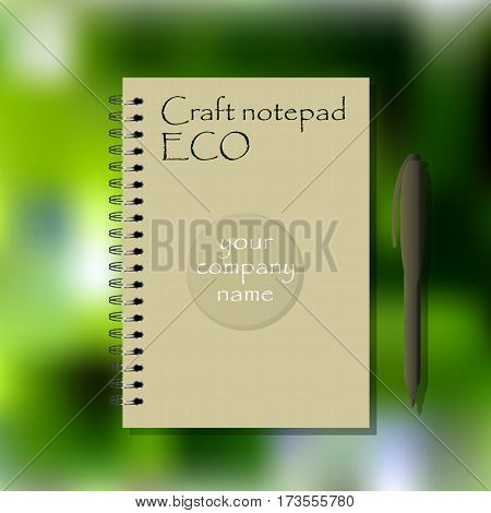 Ecology spiral bound note. Craft paper notepad mock up. Template for business design.