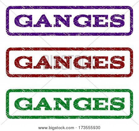 Ganges watermark stamp. Text caption inside rounded rectangle with grunge design style. Vector variants are indigo blue red green ink colors. Rubber seal stamp with scratched texture.