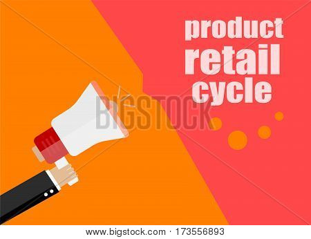 Flat Design Business Concept. Product Retail Cycle. Digital Marketing Business Man Holding Megaphone
