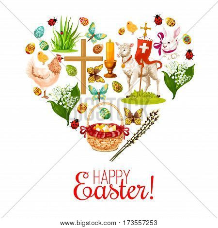 Heart of Easter holiday icons. Easter rabbit bunny with painted eggs, chicken, egg hunt basket, lily flower bunch, Easter lamb, chick, cross, candle and willow tree twig symbols for Easter design
