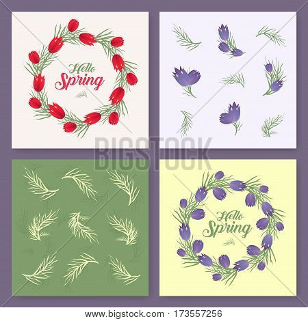 Vector spring background. Spring time. Spring flowers and leaves on tree. Round frame. Handwritten brush lettering. Vector card template. You can place your text in the center on white background