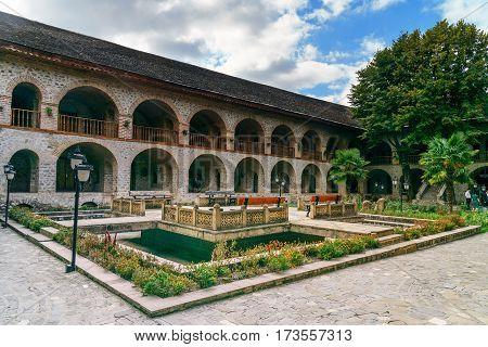 View Of The Inner Courtyard Of Upper Caravanserai In Sheki. Azerbaijan