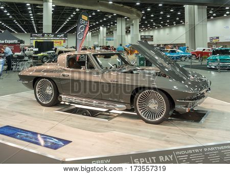 DETROIT MI/USA - February 25 2017: A 1966 Chevrolet Corvette car interpretation