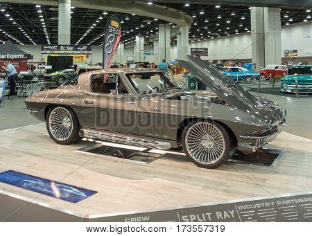 DETROIT MI/USA - February 25 2017: A 1966 Chevrolet Corvette car interpretation