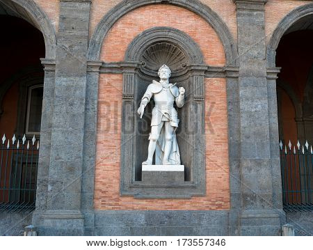 Statue On Facade Of Royal Palace, Naples
