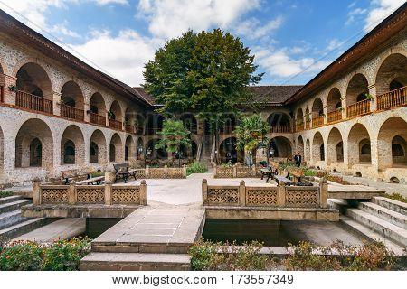 View Of The Inner Courtyard Of Upper Caravanserai In Sheki. Azerbaijan