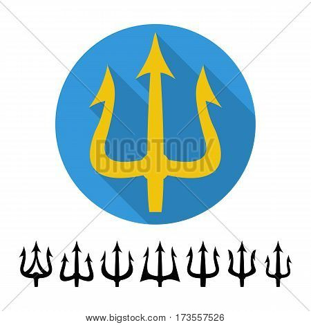 Trident Silhouette Vector. Set Neptune Flat Triden Isolated On White Background. Pitchfork Sharp Fork Object. Poseidon Weapon