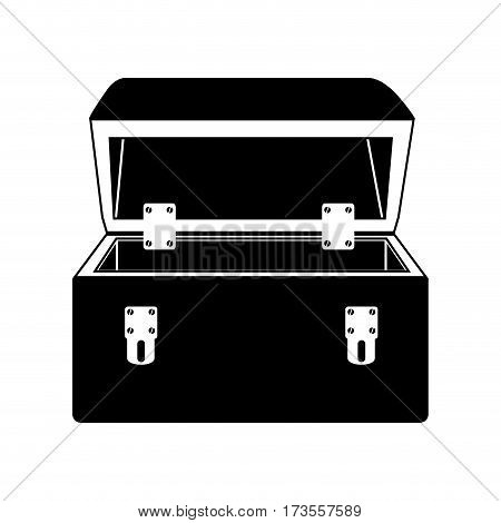 black silhouette with tool box vector illustration