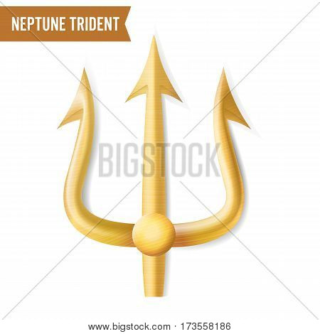 Neptune Trident Vector. Gold Realistic 3D Silhouette Of Neptune Or Poseidon Weapon. Pitchfork Sharp Fork Object. Isolated On White