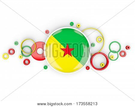 Round Flag Of French Guiana With Circles Pattern