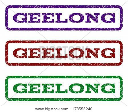 Geelong watermark stamp. Text tag inside rounded rectangle with grunge design style. Vector variants are indigo blue red green ink colors. Rubber seal stamp with dust texture.