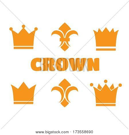 Crown and fleur de lis icons. Heraldic crowns and diadems for design