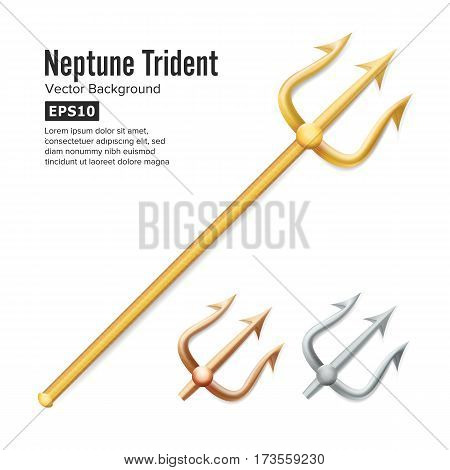Neptune Trident Vector. Realistic 3D Silhouette Of Poseidon Weapon. Gold, Silver, Bronze. Pitchfork Sharp Fork Object. Isolated On White