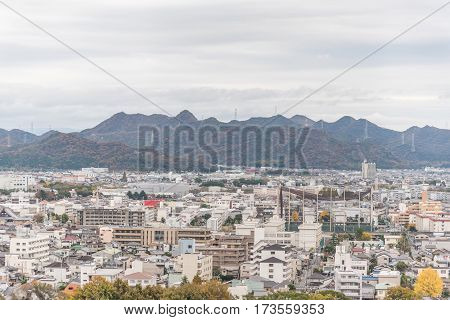 Aerial View of Himeji residence downtown from Himeji castle in Hyogo Kansai Japan.