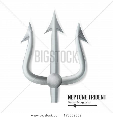 Neptune Trident Vector. Silver Realistic 3D Silhouette Of Neptune Or Poseidon Weapon. Pitchfork Sharp Fork Object. Isolated On White