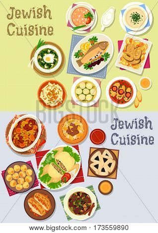 Jewish cuisine kosher food icon with fish and chicken dishes, chickpea falafel, lamb, beef bean stew, meat dumpling, lentil, sorrel soup, liver pate, radish salad, beef roast, poppy cookie