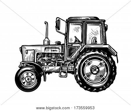 Hand-drawn farm truck tractor. Transport sketch vector illustration isolated on white background
