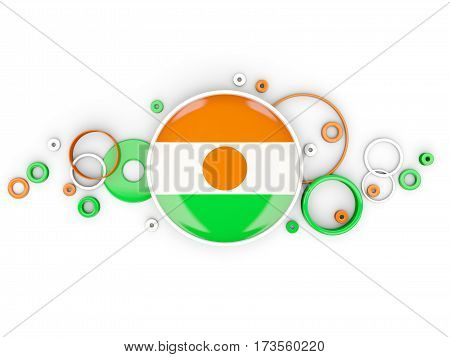 Round Flag Of Niger With Circles Pattern