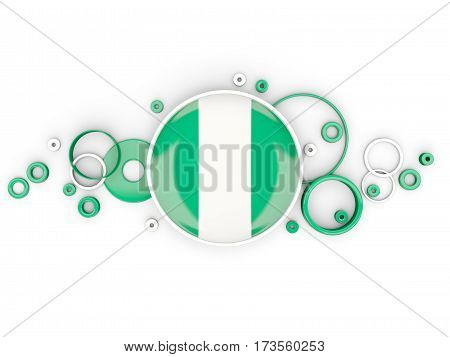 Round Flag Of Nigeria With Circles Pattern