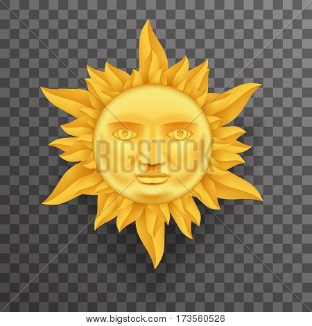 Antique Golden Sun Face Crown of Flames Realistic Transperent Icon Template Background Mock Up Design Vector Illustration