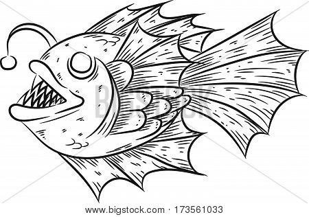 Anglerfish, deep sea fish hand draw illustration.