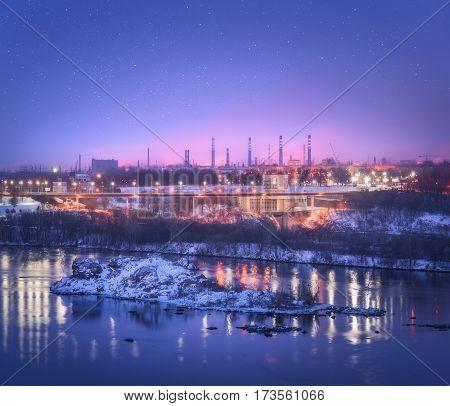 Night Cityscape. Industrial Landscape In Ukraine At Twilight
