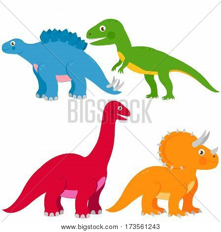Vector illustration set of dinosaurs: Stegosaurus, Brontosaurus, apatosaurus, triceratops, tyrannosaurus