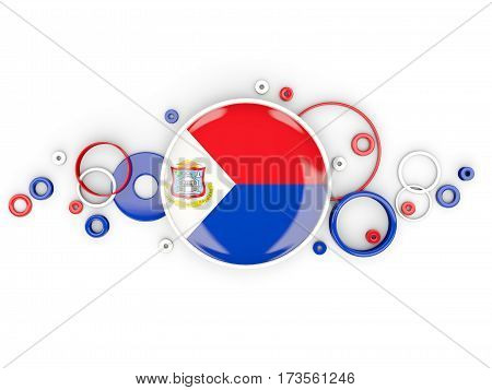 Round Flag Of Sint Maarten With Circles Pattern