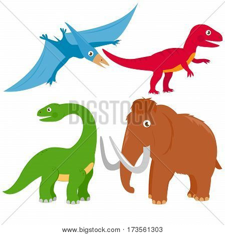 Vector illustration set of dinosaurs: pterodactyl, Brontosaurus, apatosaurus, mammoth, tyrannosaurus