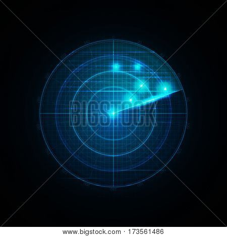 Realistic vector radar in searching . Air search . Military search system blip illustration . Navigation interface wallpaper . Navy sonar