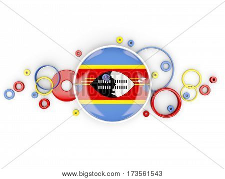 Round Flag Of Swaziland With Circles Pattern