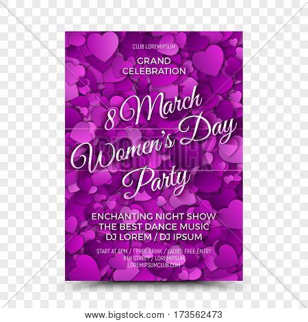 Happy Women's Day Vector Flyer Design Template with 3D Calligraphic Text and Heart Shapes in Retro and Vintage Style on Transparent Background. Illustration for Celebration 8th March in Night Club