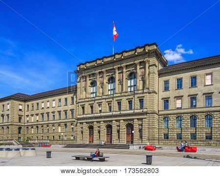 Zurich, Switzerland - 12 April, 2015: building of the Swiss Federal Institute of Technology. Swiss Federal Institute of Technology (German: ETH) is an engineering, science and technology university.