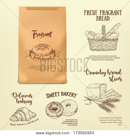 Set of hand drawn bread labels on paper bag mockup. Vector illustration with line realistic baking emblems designed for advertising bakery, booklet, handbill, poster, logo and packing design.