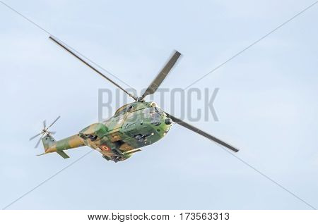 Bucharest, Romania - September 5, 2015. Puma Helicopter Pilots Training In The Blue Sky