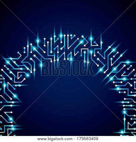 Vector digital technology background with circuit board elements and sparkles neon computer scheme texture. Device component microprocessor abstract shine illustration.