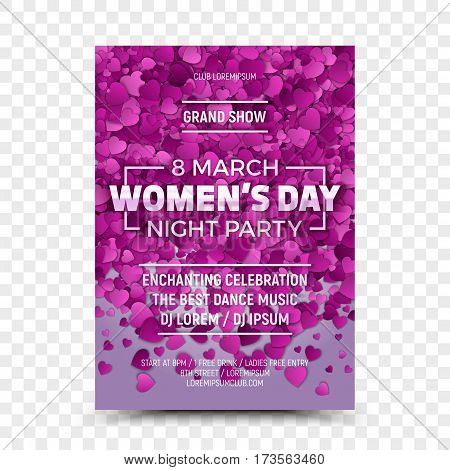 Happy Women's Day Vector Flyer Design Template Night Party with 3D Sample Text and Falling Heart Shapes on Transparent Background. Celebration 8th March Poster