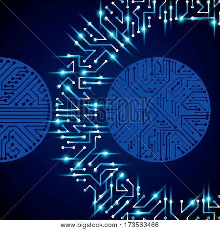 Circuit board futuristic cybernetic texture with sparkles information communication technology vector background with flash effect. Computer motherboard web design.
