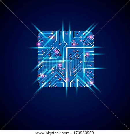 Vector technology cpu design with square luminescent microprocessor scheme. Computer circuit board blue neon digital element with flash effect.