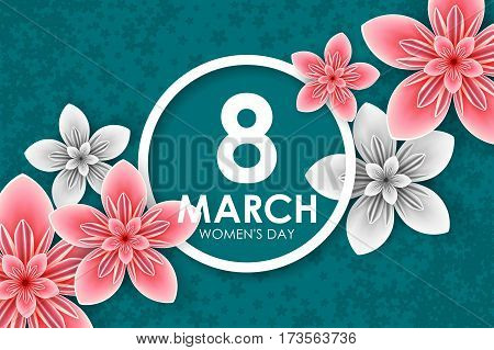 8 March holiday. Origami Greeting card with paper Flowers. International Happy Women's Day. Vector eps10