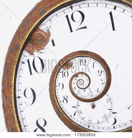 Close-up of a vintage Rusty clock swirl
