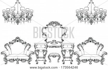 Exquisite Fabulous Imperial Baroque furniture and dressing table set engraved. Vector French Luxury rich intricate ornamented structure. Victorian Royal Style decor