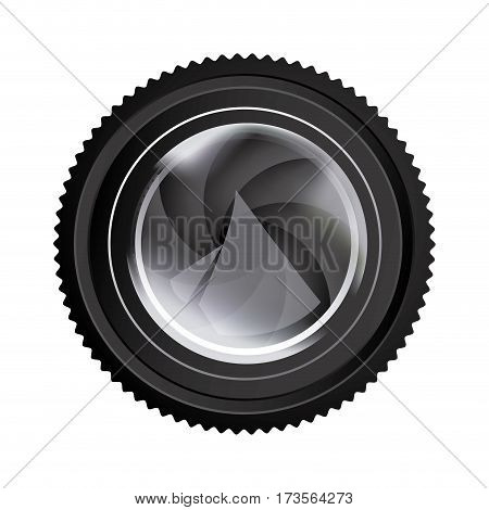 realistic silhouette color with analog camera lens vector illustration